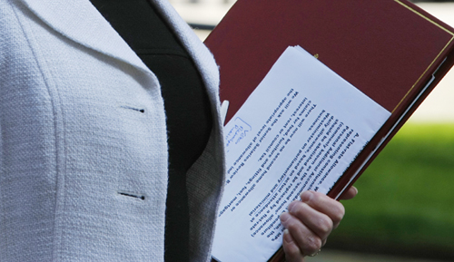 Detail of the documents that the Secretary of State for Communities and Local Government, Hazel Blears, carried leaving No 10 Downing Street after the weekly cabinet, London, Britain, 21 April 2009. Felipe Trueba/Photoshot  Photoshot. All rights reserved.