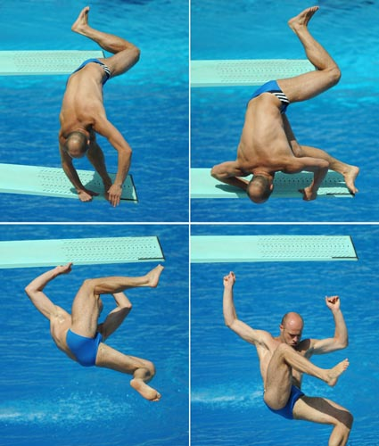 The combo picture shows German Pavlo Rozenberg falling from the board during the preliminary round of the 3m diving competition at the FINA Swimming World Championships in Rome, Italy, 22 July 2009.  Credit: DPA/Photoshot.  All Rights Reserved.