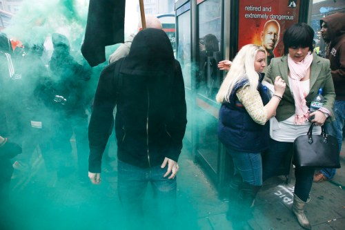 UK - TUC protest march - Anarchists demontration cuts through central London. Photo Mike Kemp