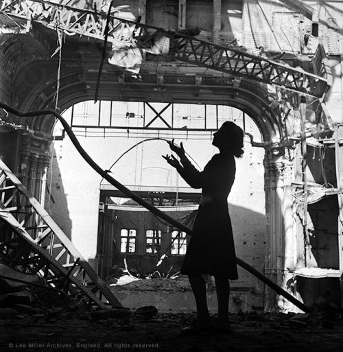 Irmgard Seefried, Opera singer, singing an aria from 'Madame Butterly', Vienna Opera House, Vienna, Austria 1945 by Lee Miller Lee Miller Archives, England 2015. All rights reserved