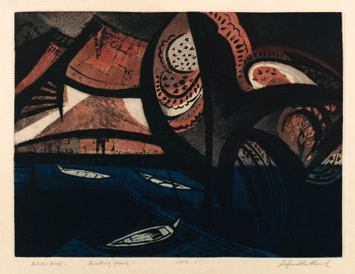 Safiuddin Ahmed, Receding Flood, 1959, soft ground etching, aquatint, 37x50cm, courtesy of the Ahmed Nazir Collection, Dhaka